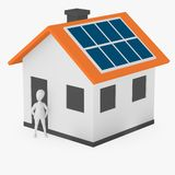Cartoon character with solar house - stand before Stock Photos