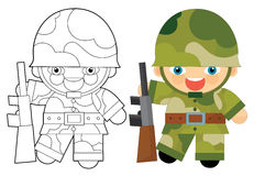 Cartoon character - soldier - coloring page Stock Photo
