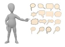 Cartoon character with speech bubbles Royalty Free Stock Images