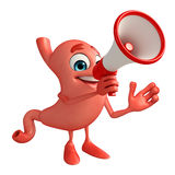 Cartoon Character of stomach with loudspeaker Stock Photo