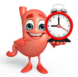 Cartoon Character of stomach with table clock Stock Image