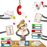 Cartoon character: Stressed out Businessman. Colorful vector illustration of an over-worked business cartoon character sitting at his desk stressed out by the Royalty Free Stock Image