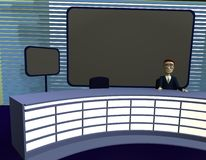 Cartoon character in suit in tv studio Royalty Free Stock Image