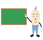 Cartoon character teaching. Illustration of a cartoon character teaching on green board Stock Photos