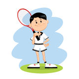 Cartoon character tennis player. Standing and holding tennis-racket Stock Photo