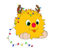 Cartoon character tongue garland white background. Christmas cartoon character with tongue garland the horns on a white background Royalty Free Stock Photo