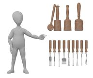 Cartoon character with tools Stock Images