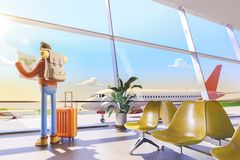 Cartoon character tourist holds world map in hands in airport. 3d illustration. 3d illustration. Cartoon character tourist holds world map in hands in airport