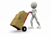 Cartoon character that transport some boxes Royalty Free Stock Photos