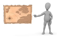 Cartoon character with treasure map pointing Stock Photo