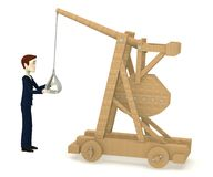 Cartoon character with trebuchet Stock Photos