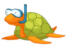 Cartoon Character Turtle. Isolated on White Background royalty free illustration