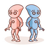 Cartoon Character Two Robots Sticker royalty free illustration