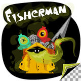 Cartoon character of undead fisherman Stock Photography