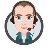Cartoon character, vector drawing portrait boy call center operator, icon, sticker. Man with big eyes with a headset, headphones a. Nd microphone in round frame Royalty Free Stock Photography