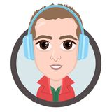 Cartoon character, vector drawing portrait boy in headphones listening to music, man smile emotion, icon, sticker. Guy big brown e. Yes with big headphones in Stock Photo
