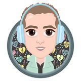 Cartoon character, vector drawing portrait boy in headphones listening to music, smile icon, sticker. Guy big brown eyes in round. Frame with a pattern notes Stock Photos