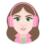 Cartoon character, vector drawing portrait girl in headphones listen to music, smile emotion, icon, sticker. Woman brunette big gr. Een eyes with pink earphone Stock Images