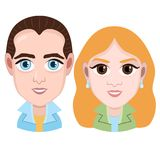 Cartoon character, vector graphic drawing portrait boy and girl, smile facial emotion, avatar, icon, sticker. Cute man and woman w. Ith big eyes in jacket Stock Photo