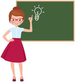 Cartoon character vector teacher standing at the blackboard Stock Image