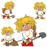 Cartoon character village boy in various poses with a shovel and a bag Stock Photography