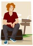 Cartoon character waiting Stock Photo