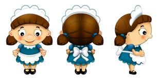 Cartoon character - waitress - isolated Royalty Free Stock Photo
