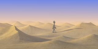 Cartoon character walk on dry sand desert Royalty Free Stock Images