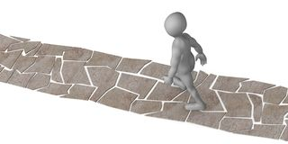 Cartoon character walk on stone way Stock Image