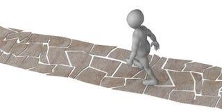 Cartoon character walk on stone way Stock Image
