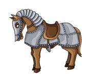 Cartoon character of war horse in armour suit illustration isolated on white royalty free stock photography