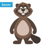 Happy brown beaver. Cartoon character in a white background. Flat style. Vector illustration vector illustration