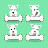 Cartoon character white scottish terrier dog with big bones Royalty Free Stock Photo