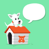 Cartoon character white scottish terrier dog and kennel with speech bubble. For design Stock Image