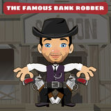 Cartoon character in Wild West - bank robber Royalty Free Stock Photos