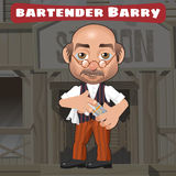 Cartoon character in Wild West - bartender Barry Stock Images