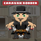 Cartoon character in Wild West - caravan robber Stock Photography