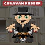Cartoon character in Wild West - caravan robber Stock Photography
