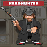 Cartoon character in Wild West - leader with rifle Stock Photography