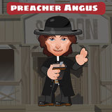 Cartoon character in Wild West - preacher Angus Royalty Free Stock Image