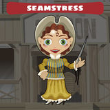 Cartoon character of Wild West - seamstress Stock Photography