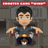 Cartoon character in Wild West - shooter gang Wind Royalty Free Stock Photo