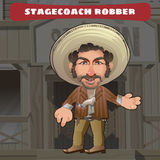Cartoon character in Wild West - stagecoach robber Stock Photos