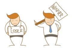 Cartoon character winner loser. Cute business man cartoon character winner loser Royalty Free Stock Photos