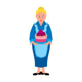 Cartoon character is a woman or grandmother in a blue dress and an apron Stock Image