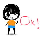 Cartoon character woman say ok Stock Images