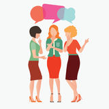 Cartoon character of women with colorful dialog speech bubbles. Royalty Free Stock Images