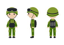 Cartoon character of the worker, soldier, construction worker. The guy in the form of talisman. Worker, builder, soldier Stock Images