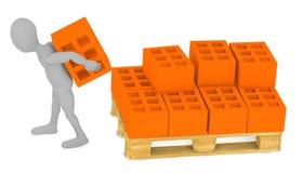 Cartoon character working with bricks Royalty Free Stock Photo