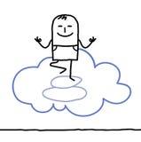 Cartoon character and yoga Royalty Free Stock Photos